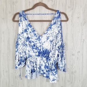 Free People blue white tie dye cold shoulder crop